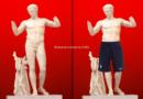 Les statues du Louvre habillées du short de l'equipe de France pour ne pas heurter la sensibilité des plus jeunes.